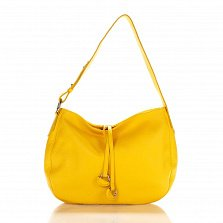 Кожаная сумка на каждый день Genuine Leather 8934 желтого цвета с декоративными подвесками
