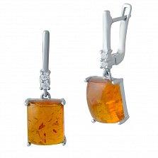 Серебряные серьги-подвески Филлида с янтарем и фианитами