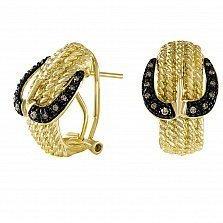Серьги из желтого золота Веста с бриллиантами