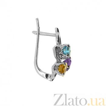 Серебряные серьги с цветными камнями Аркадия ZMX--EAmTCt-6618-Ag_K