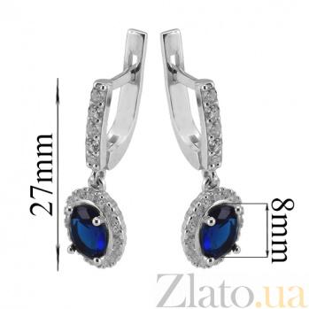 Серебряные серьги Таисия с синим цирконием Таисия с/син