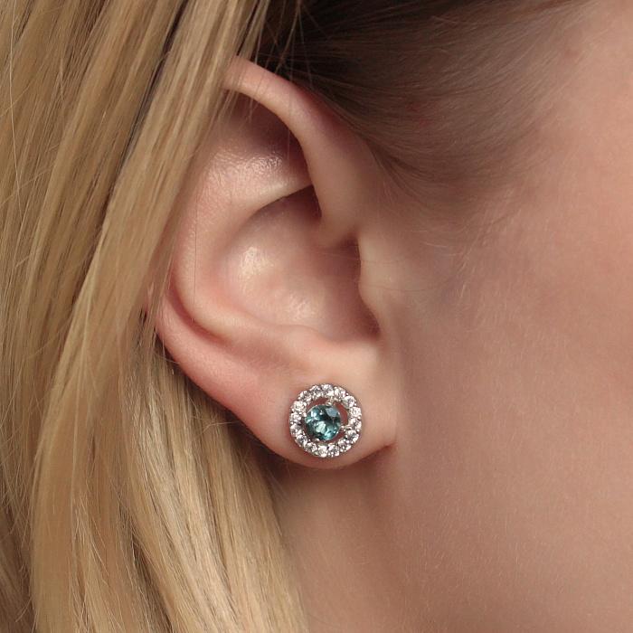 Серебряные серьги-пуссеты Джулия с лондон топазами и фианитами 000078463
