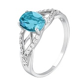 Серебряное кольцо с голубым кварцем Тропикана