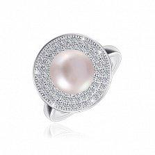 Серебряное кольцо Виргиния с жемчугом и фианитами