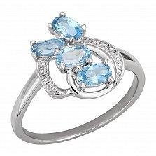 Кольцо в белом золоте Амина с голубым топазом и бриллиантами