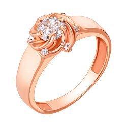 Кольцо из красного золота с фианитами 000103730