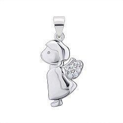 Серебряная подвеска-ангел с цирконием 000147325