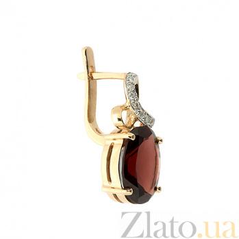 Золотые серьги с бриллиантами и гранатами Мара ZMX--EGn-6632_K