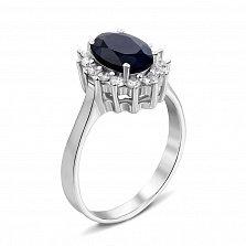 Серебряное кольцо с сапфиром и фианитами 000134865