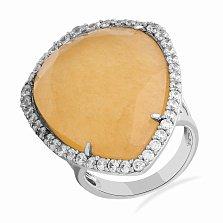 Серебряное кольцо Памела с кальцитом цвета шампань и фианитами