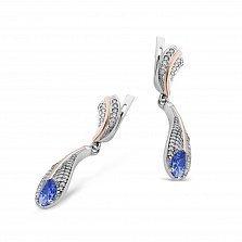 Серебряные серьги-подвески Лилия с золотыми накладками, синим алпанитом и фианитами