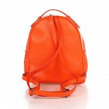 Кожаный рюкзак Genuine Leather 8988 оранжевого цвета с карманом на молнии