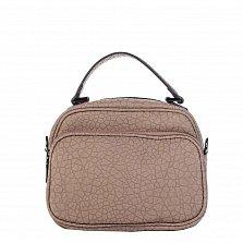 Кожаный клатч Genuine Leather 8862  цвета тауп с короткой ручкой и накладным карманом