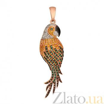 Кулон из красного золота с циркониями Какаду VLT--ТТ3447-2