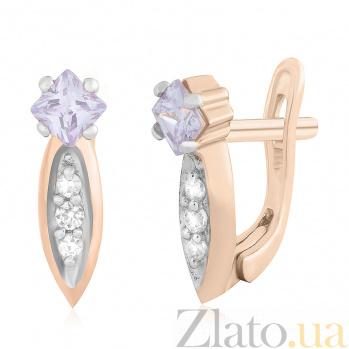 Серебряные cерьги с фиолетовым цирконием Каллиопа SLX--С3ФА/083