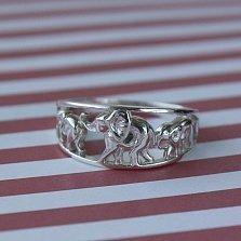 Серебряное кольцо Семья слонов