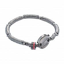 Серебряный браслет для бусин Мощная сила: драконы