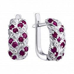 Серебряные серьги с рубинами и бриллиантами 000019125