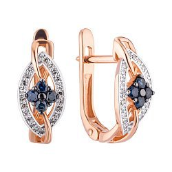 Золоті сережки у комбінованому кольорі з сапфірами і діамантами 000147915