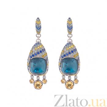 Золотые серьги с сапфирами и бриллиантами  Vedana 1С113-0173