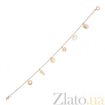 Браслет из красного золота Гармония с фигурными подвесками и фианитом 000062719