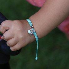 Детский плетеный браслет Коляска с эмалью и фианитом, 12-12см