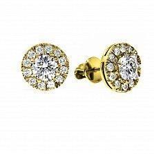 Серьги из желтого золота Азалия с бриллиантами