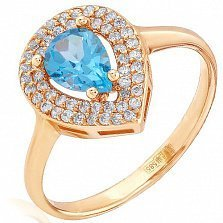 Золотое кольцо Минора с топазом и фианитами