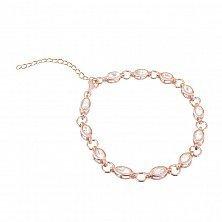 Серебряный браслет Анна в позолоте с прозрачным цирконием