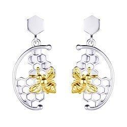 Серебряные серьги-подвески Пчелки с позолотой 000113705