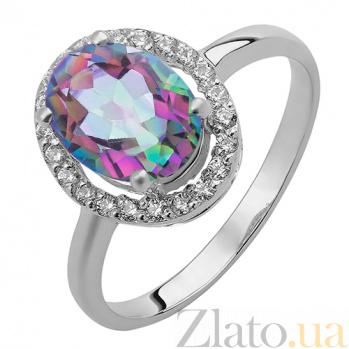 Серебряное кольцо Эйвис с мистик кварцем и фианитами 000032461
