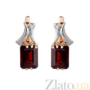 Золотые серьги с бриллиантами и гранатами Вайле ZMX--EGn-6260_K