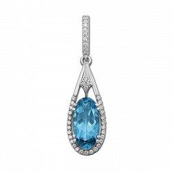 Серебряный кулон с кварцем под голубой топаз и фианитами 000135212