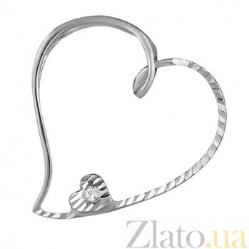 Серебряная подвеска Влюбленное сердце LEL--62053