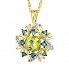 Золотой кулон с хризолитом, изумрудами и бриллиантами Весенняя надежда
