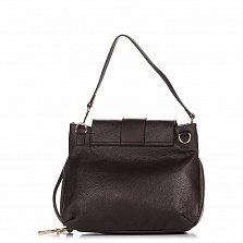 Кожаная сумка на каждый день Genuine Leather 8813 темно-коричневого цвета на молнии под клапаном