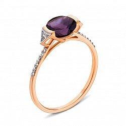 Кольцо из красного золота с аметистом и фианитами 000135405