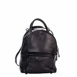 Кожаный рюкзак Genuine Leather 8002 черного цвета с накладным карманом на молнии