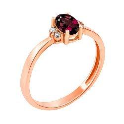 Золотое кольцо в красном цвете с рубином и бриллиантами 000117347