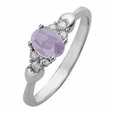 Серебряное кольцо Нюша с аметистом и фианитами