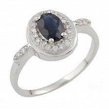 Серебряное кольцо Миледи с сапфиром и фианитами
