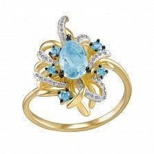Кольцо Ампир из золота с бриллиантами и топазами