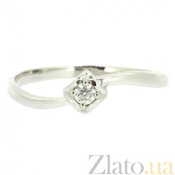 Золотое кольцо в белом цвете с бриллиантом Лисия 000021434