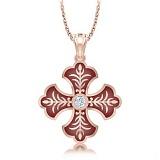 Крестик из розового золота с бриллиантом и эмалью Тайна: Верность