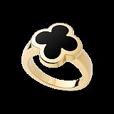 Кольцо из желтого золота с черным ониксом Alhambra
