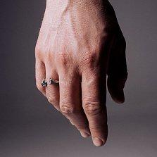 Кольцо из серебра Uef с фианитами и чернением