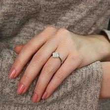 Серебряное кольцо Бренд с перламутром и фианитами в стиле Ван Клиф