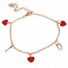 Серебряный браслет с позолотой I love You