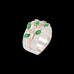 Серебряное кольцо Бриана с вставкой золота и фианитами