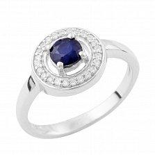 Серебряное кольцо Вэнди с сапфиром и фианитами